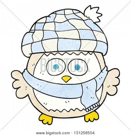 freehand textured cartoon cute little owl