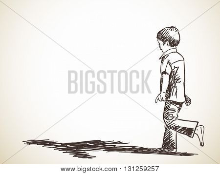 Sketch of boy standing on one leg, Hand drawn illustration