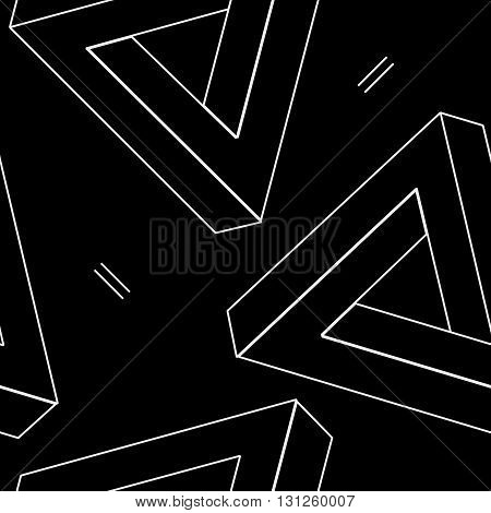Pattern geometric seamless simple monochrome minimalistic pattern of impossible shapes, rectangles, triangles.