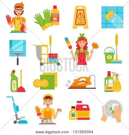Cleaning service icon set with different types of clean stuff and women workers in the workplace vector illustration