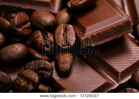 Chocolate-Coffee background: Close-up of a beans