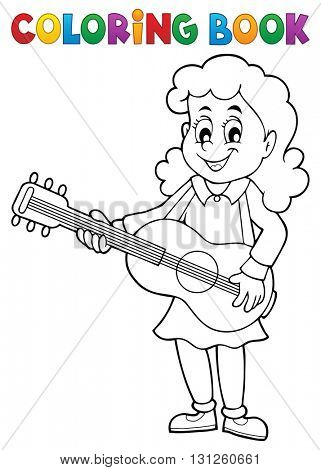 Coloring book girl guitar player theme 1 - eps10 vector illustration.