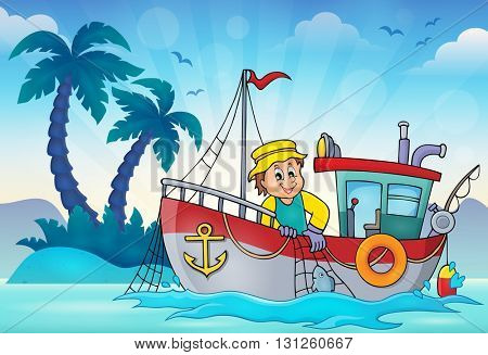 Fishing boat theme image 3 - eps10 vector illustration.