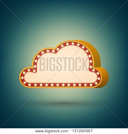 Retro banner with shining lights. Vector illustration. Vintage billboard, bright signboard or light banner in 3D style. Shining cloud banner.