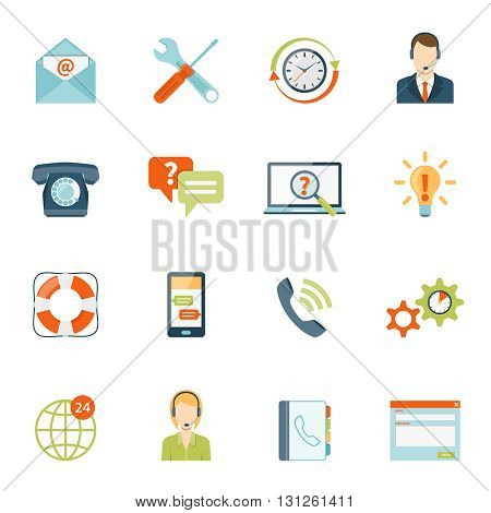 Contact us customer colorful icons set of online and offline support services on white background isolated flat vector illustration