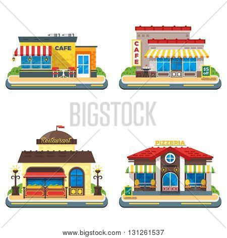 Colorful cafe restaurant and pizzeria buildings on white background 2x2 flat icons set isolated vector illustration