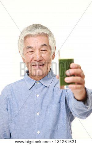 senior Japanese man with green vegetable juice