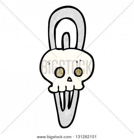 freehand textured cartoon skull hairclip