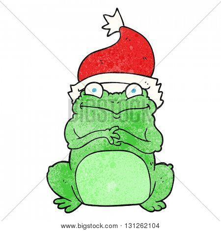 freehand textured cartoon frog wearing christmas hat