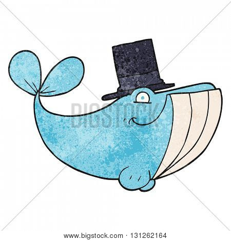 freehand textured cartoon whale wearing top hat