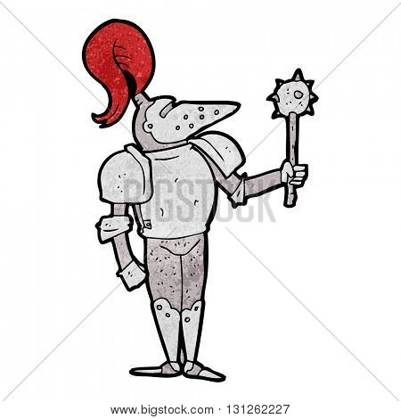 freehand textured cartoon medieval knight