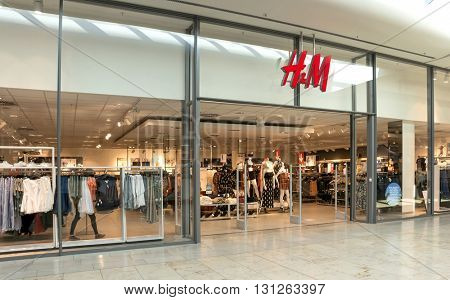 BADEN-BADEN, GERMANY  - MAY 4: interior of  H&M fashion clothes store in the  shopping center of Baden-Baden.  Baden-Baden, May 4, 2016