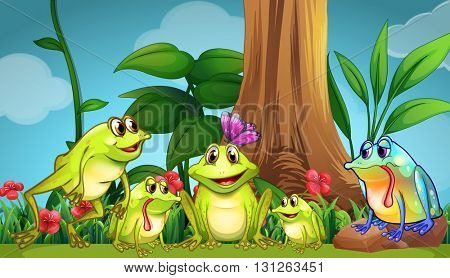 Frogs sitting on the grass illustration