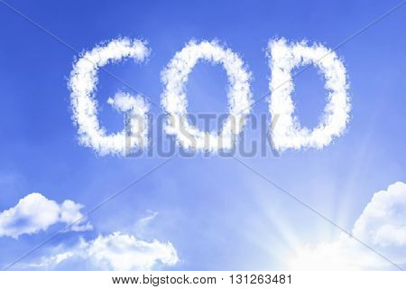 God cloud word with a blue sky