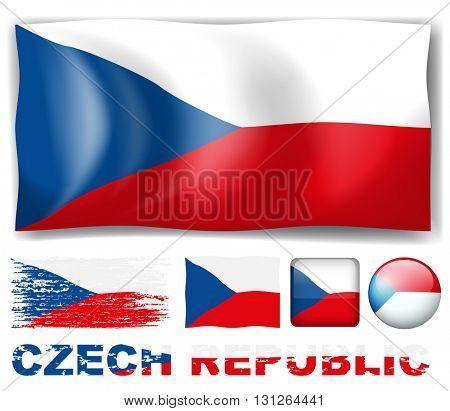 Czech Republic flag in different design illustration
