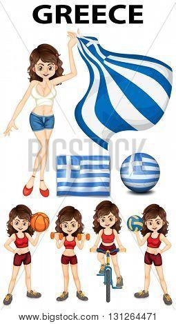 Greece flag and woman athlete illustration