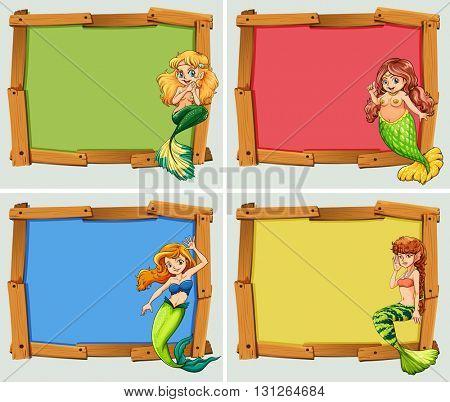 Wooden frame design with mermaids illustration