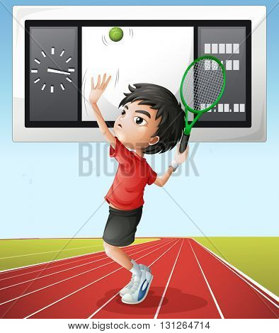Tennis player and score board illustration