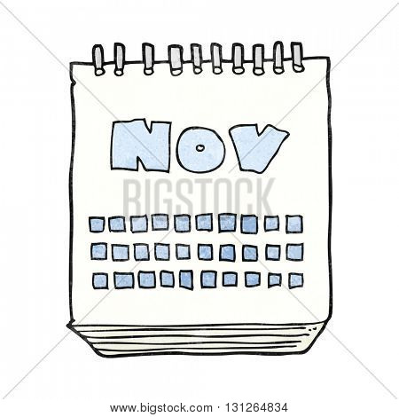 freehand textured cartoon calendar showing month of november
