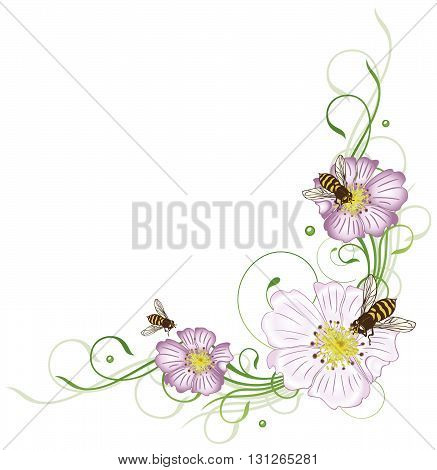 Wild rose blossoms with floral flourishes and bees.