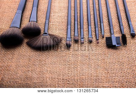 Set Of Cosmetic Set On Natural Fabric Texture