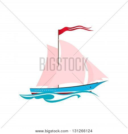 Yacht on the Waves, Sailing Vessel Isolated on White, Travel Concept ,Vector Illustration