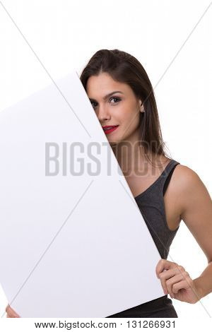 Woman holding a banner on white background