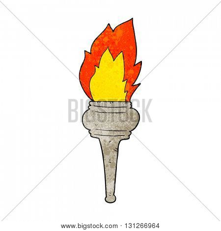 freehand textured cartoon flaming torch