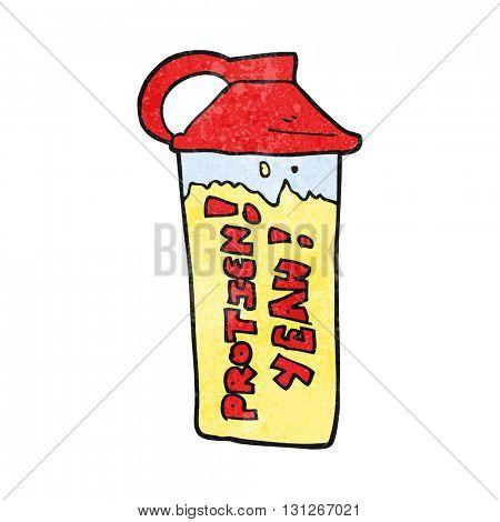 freehand textured cartoon protein shake
