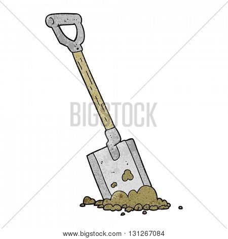 freehand textured cartoon shovel in dirt