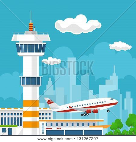 Airplane Takes Off from the Airport, Control Tower and Airplane on the Background of the City, Travel and Tourism Concept, Air Travel and Transportation, Vector Illustration