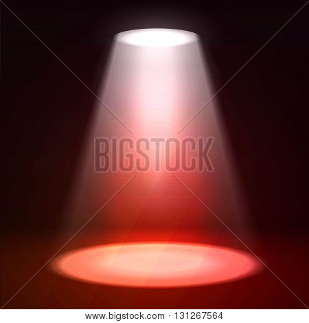 Scene illumination. Shine effects on a dark grunge wall background. Bright lighting with spotlights and glow effects