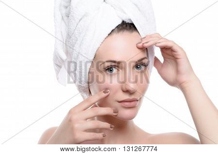 Spa Skin Care Beauty Woman Wearing Hair Towel
