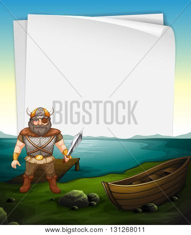 Paper design with viking at the sea illustration