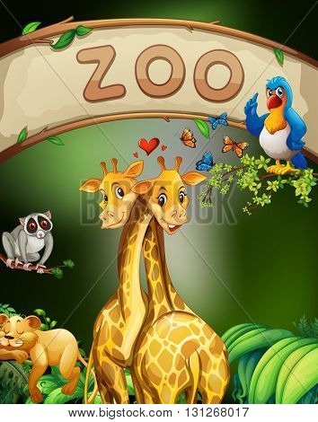 Zoo sign and many animals illustration