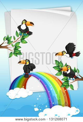 Paper design with toucans flying in sky illustration