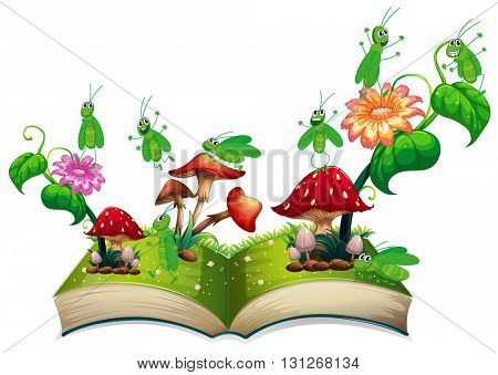 Book with grasshopper and mushroom illustration