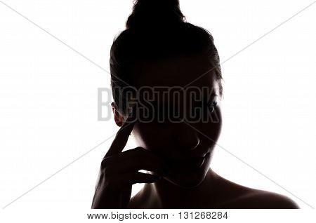 Dark Portrait Of A Cute Woman On White