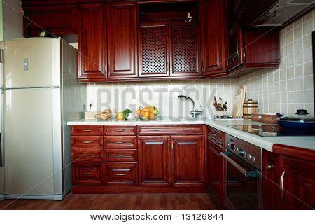 Beautiful modern wooden kitchen interior