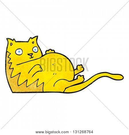 freehand textured cartoon fat cat