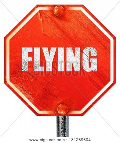 flying, 3D rendering, a red stop sign