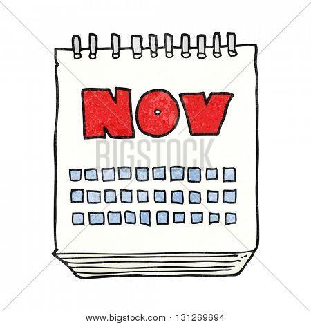 freehand textured cartoon calendar showing month of November