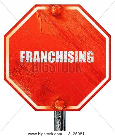 franchising, 3D rendering, a red stop sign