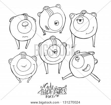 Vector illustration with black and white cute monster character isolated on white. Hand drawn alien in different emotions and poses smiling running standing with closed and open eye.