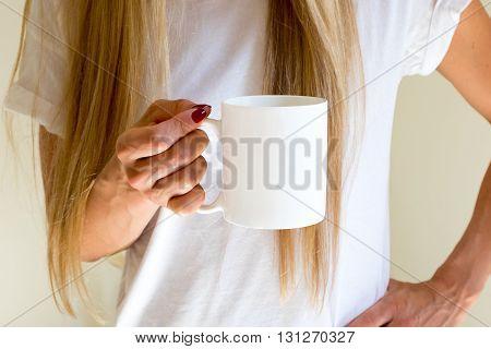 Female Holding A Coffee Mug, Styled Stock Mockup Photography