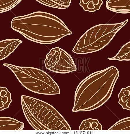 Cocoa beans engraved seamless pattern. Chocolate packing vector pattern
