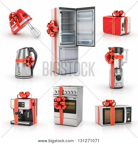 Set of kitchen gifts. Blender mixer toaster coffee machine kettle plate fridge and microwave. Kitchen appliances in gift ribbon. 3d illustration