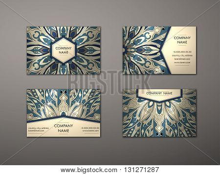 Vector vintage business card set. Floral mandala pattern and ornaments. Oriental design Layout. Islam Arabic Indian ottoman motifs. Front page and back page.