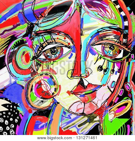 original abstract digital painting of human face, colorful composition in contemporary modern art, perfect for interior design, page decoration, web and other, vector illustration