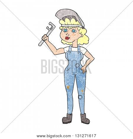 freehand textured cartoon capable woman with wrench